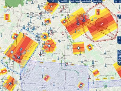Carte Mach 7 pour peparation d un vol d'inspection Beaufort Drone a Chateauroux