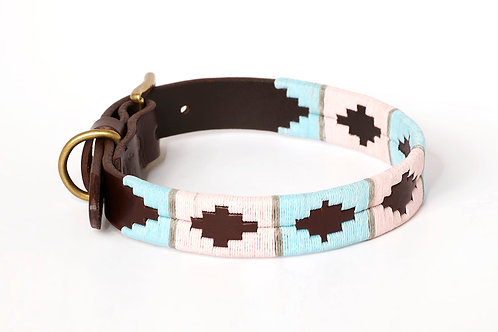 Leather collar PINK GREY BLUE