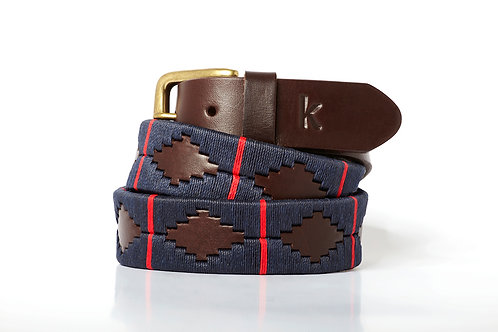 MARINE RED, Argentina Polo Belt, Brown leather, Unisex