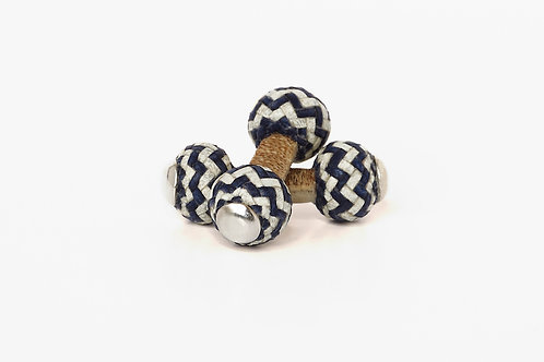 BLUE WHITE Leather Cufflinks & massive silver
