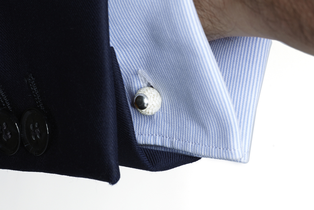 Leather silver cufflinks Kamyno