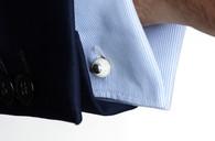 Gaucho leather cufflinks silver raw leat