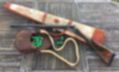 Etui fourreau pour fusil de chasse en cuir peau de vache d'Argentine, et cartouchière en cir d'Argentine Kamyno