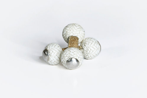 WHITE Leather Cufflinks & massive silver
