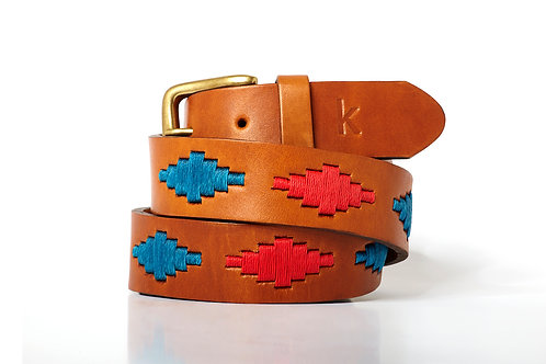 TURQUOISE ROUGE, Ceinture polo argentine, Cuir gold, Unisexe