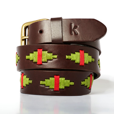 Polo gaucho leather belt from Argentina Pistachio Red