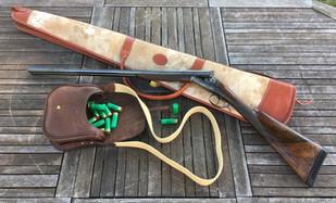 Etui fourreau fusil et carabine et cartouchière en cuir
