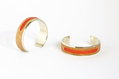 Raw leather and alpaca bracelet ORANGE