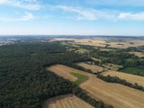 Photo par drone d'un territoire et propriété de chasse en Brenne, près de Châteauroux, Indre 36