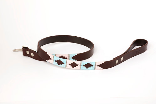 Leather lead PINK GREY BLUE