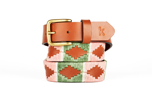 Argentinian leather polo belt GREEN PINK