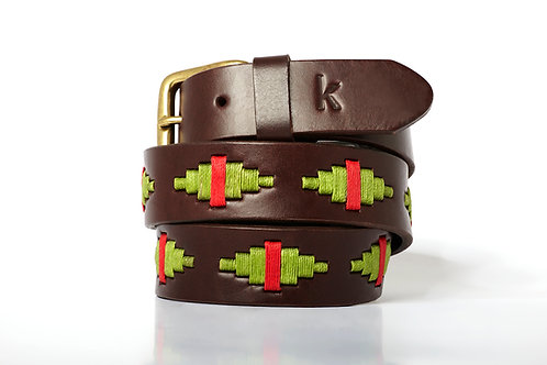 Leather polo belt PISTACHIO RED