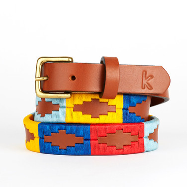Polo gaucho leather belt from Argentina Blue Red Yellow