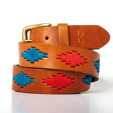 Polo gaucho leather belt from Argentina Red Blue