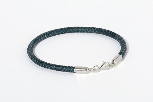 Braided leather & silver bracelet EMERALD