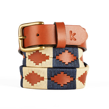 er belt from Argentina Beig Navy Blue
