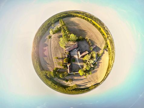 Photo immobilière fish eye par drone en Berry, près de Châteauroux, Indre 36