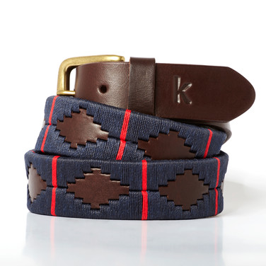 Polo gaucho leather belt from Argentina Navy Blue Red