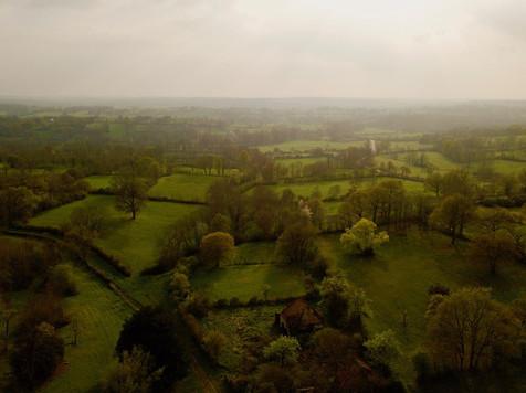 Photo paysagère par drone d'un territoire près de Châteauroux, Indre 36.