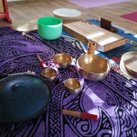 Instruments on purple throw.jpg