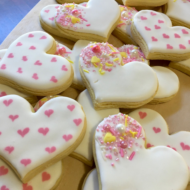 White & pink love hearts with sprinkles