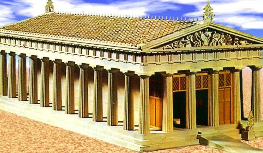 Recotrucción del templo de Afea