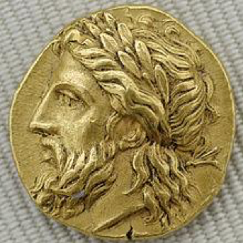 Cabeza laureada de Zeus