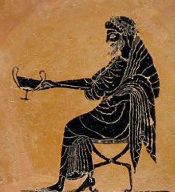 Dionisio sosteniendo un vaso