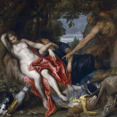 Diana y una ninfa sorprendidas por un Sátiro