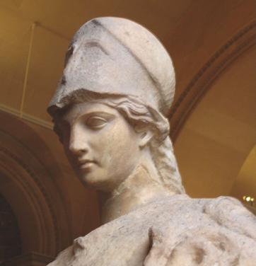 Atenea con casco llevando la serpiente