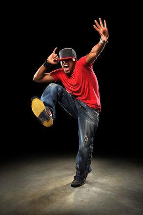 African American hip hop dancer performi