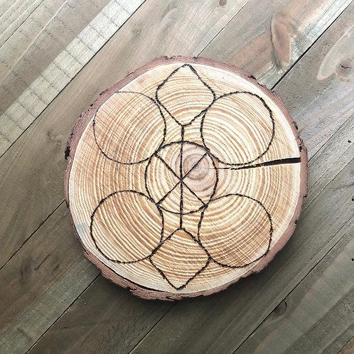 Handmade Wood Burned Crystal Grid