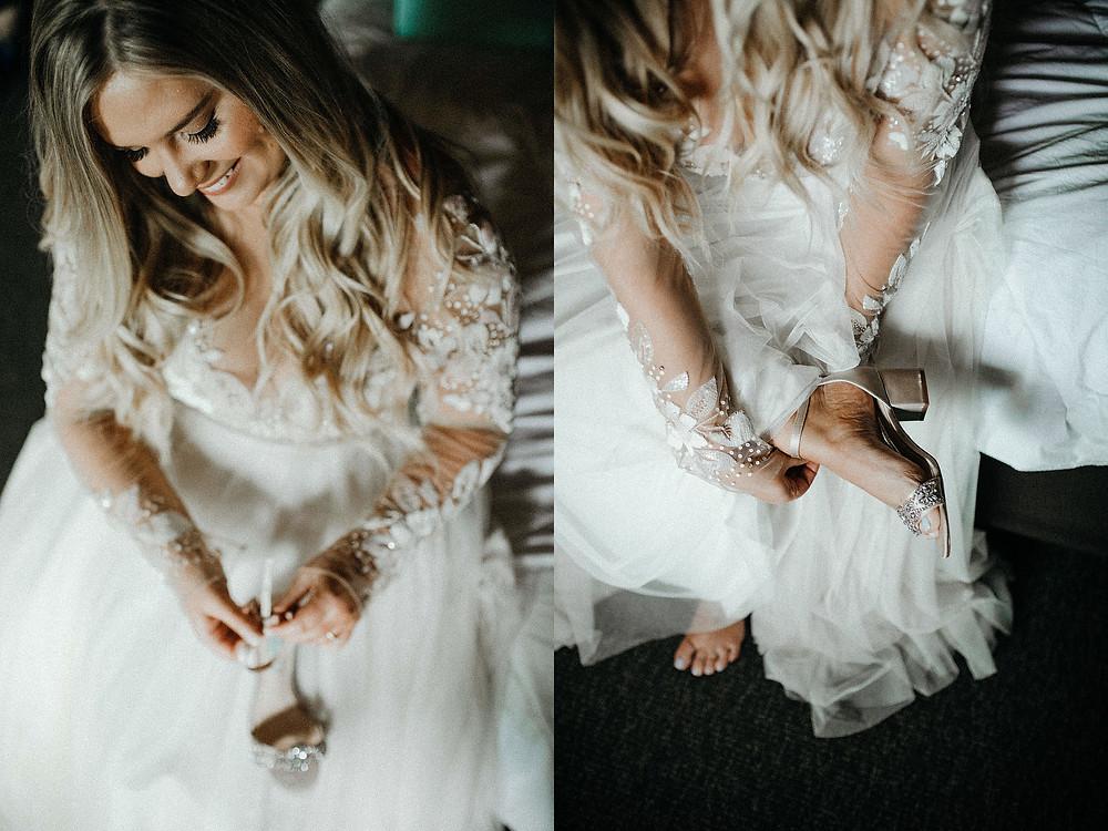 Summit Chalet Wedding - Duluth Wedding Photographer - bride putting on shoes
