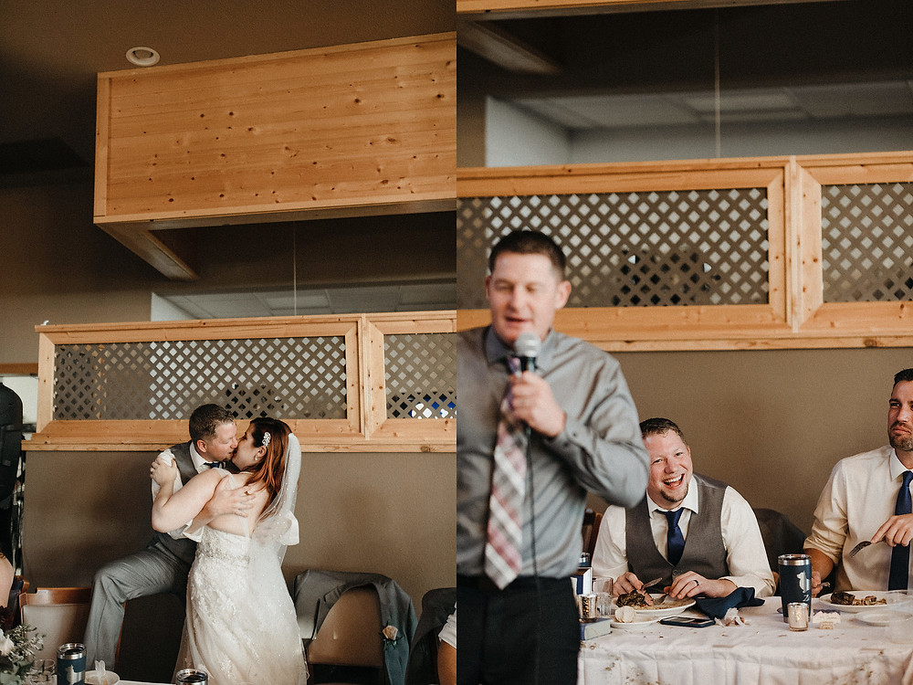 Duluth Wedding Photographer - The Autumn Dog Studio - groom laughing dring toasts