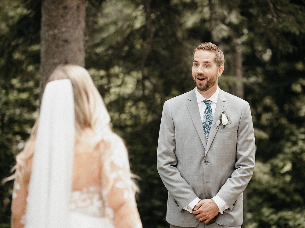 Summit Chalet Wedding - Duluth Wedding Photographer - groom reaction first look