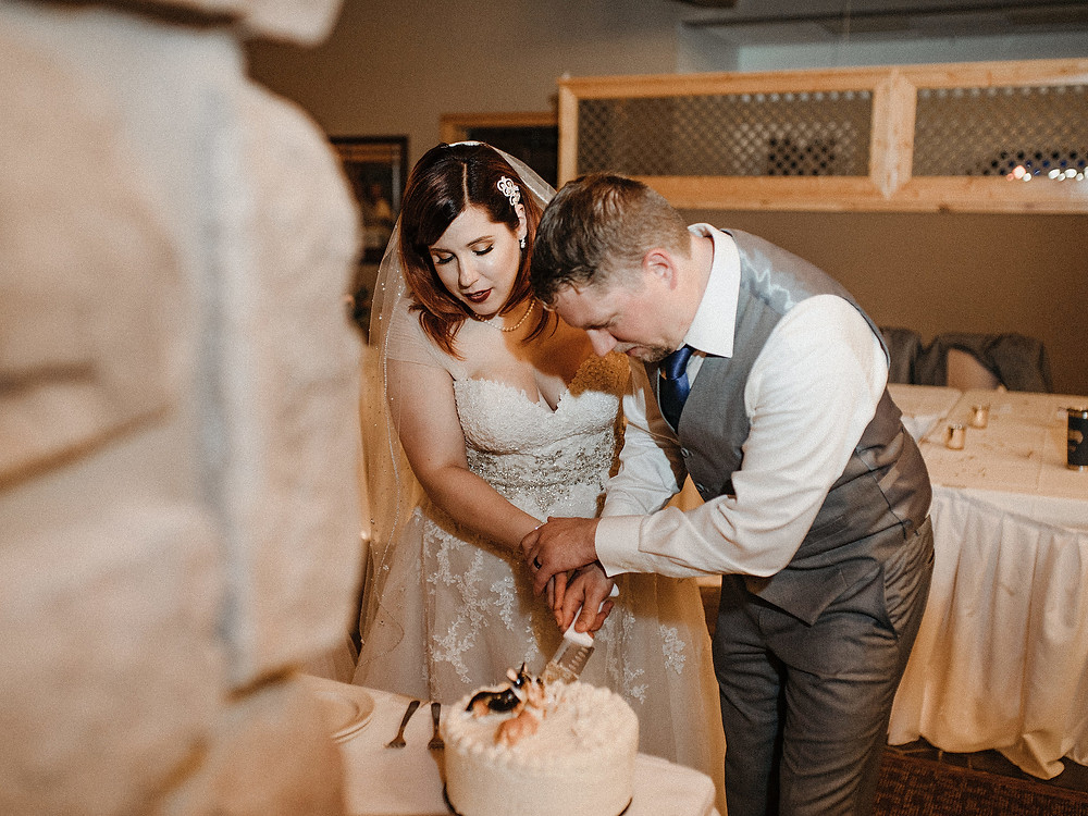 Duluth Wedding Photographer - The Autumn Dog Studio -  couple cutting cake with corgi toppers