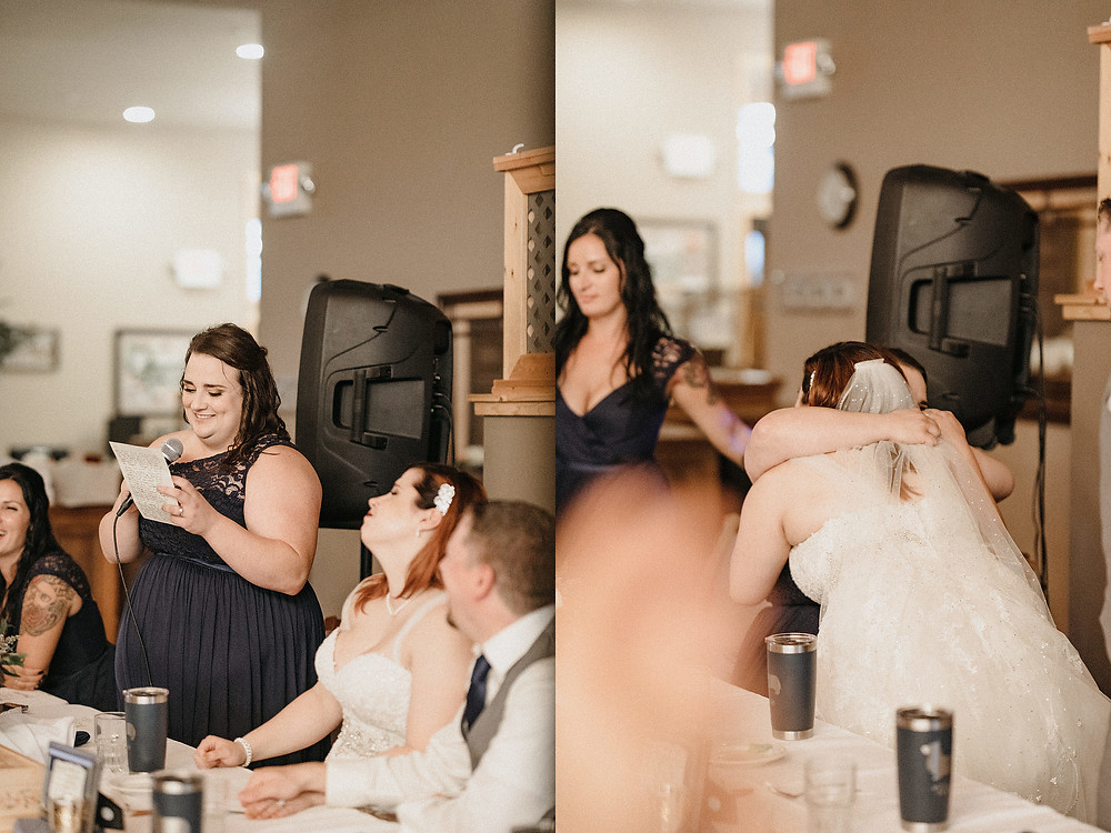 Duluth Wedding Photographer - The Autumn Dog Studio - bride hugging maid of honor after speech