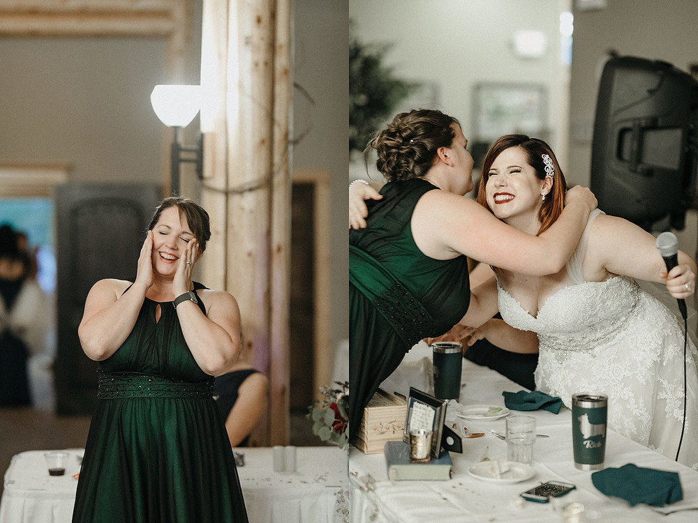 Duluth Wedding Photographer - The Autumn Dog Studio -  bride singing happy birthday for wedding guest