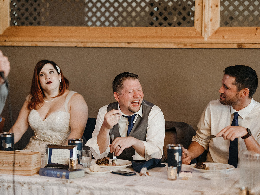Duluth Wedding Photographer - The Autumn Dog Studio -  groom laughing during inappropriate speech