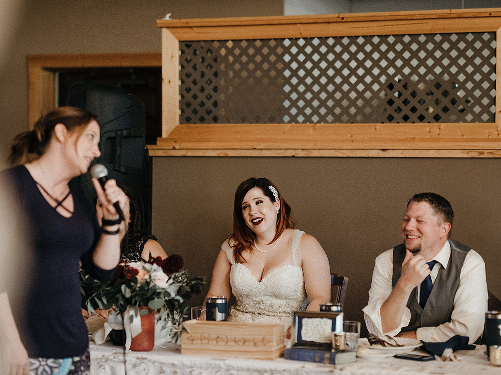 Duluth Wedding Photographer - The Autumn Dog Studio -  bride smiling during speech