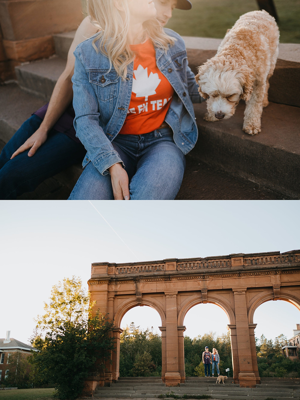 Old Main Park Duluth MN Engagement Session with Dog
