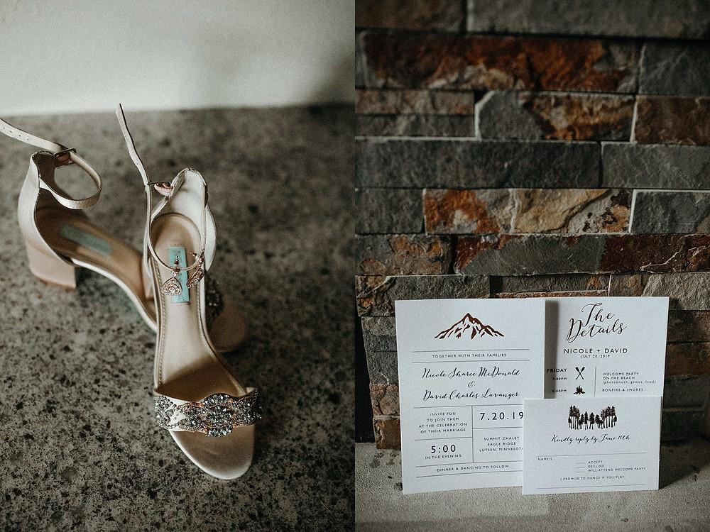 Summit Chalet Wedding - Duluth Wedding Photographer - bridal shoes and invitation