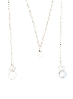 You & Me Lariat Necklace - Marble