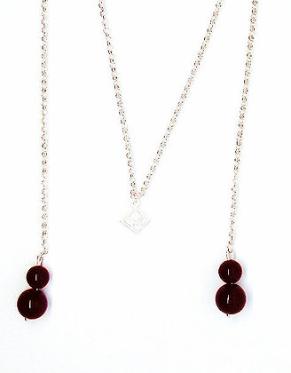 You & Me Lariat Necklace - Onyx