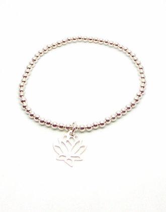 Lotus Ball Bracelet - Silver