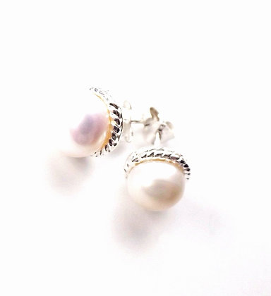 Silver Rope Pearl Studs
