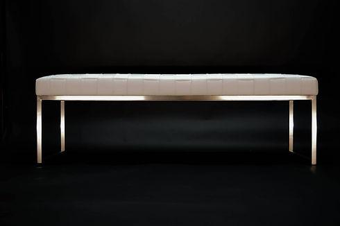 Designer Custom Leather Bench Metal Maison Luxe Canada
