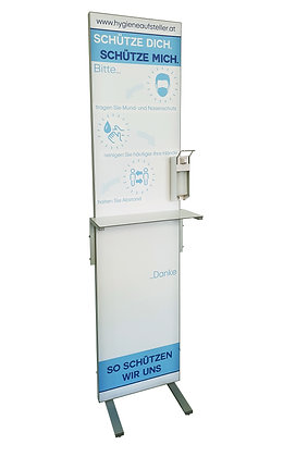 Aufsteller mit Desinfektionsmittel Dispenser