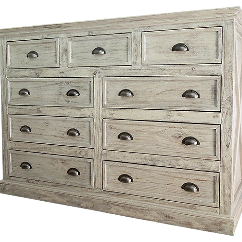 9 Drawer Dresser GREY DISTRESSED
