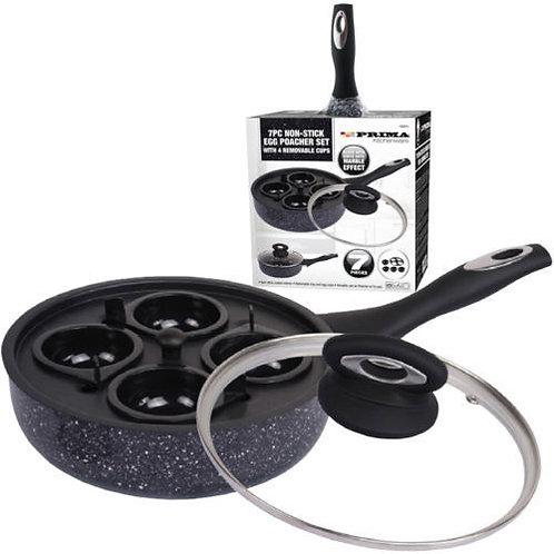 Non Stick Frying Pan & 4 Egg Poacher Cups Saucepan poaching Lid poach camping
